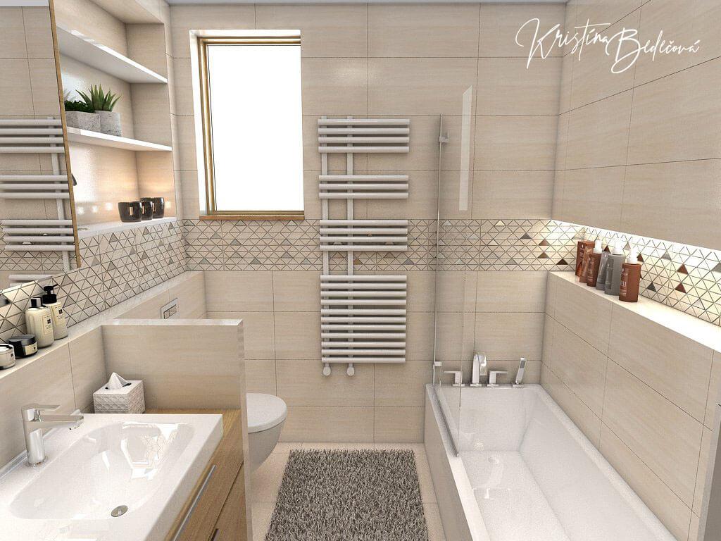 Návrh kúpeľne V novom šate, pohľad od dverí