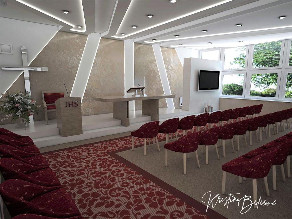 Návrh interiéru kaplnky Moderná kaplnka, pohľad z uličky