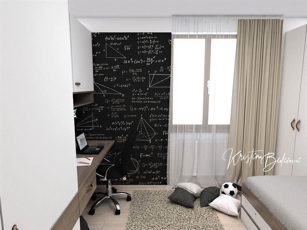 Návrh interiéru detskej izby Samkova oáza, pohľad na stenu s tabuľovou magnetickou farbou