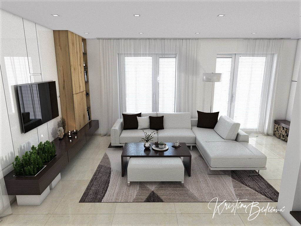 Návrh interiéru obývačky Úzka ale praktická, pohľad na okná