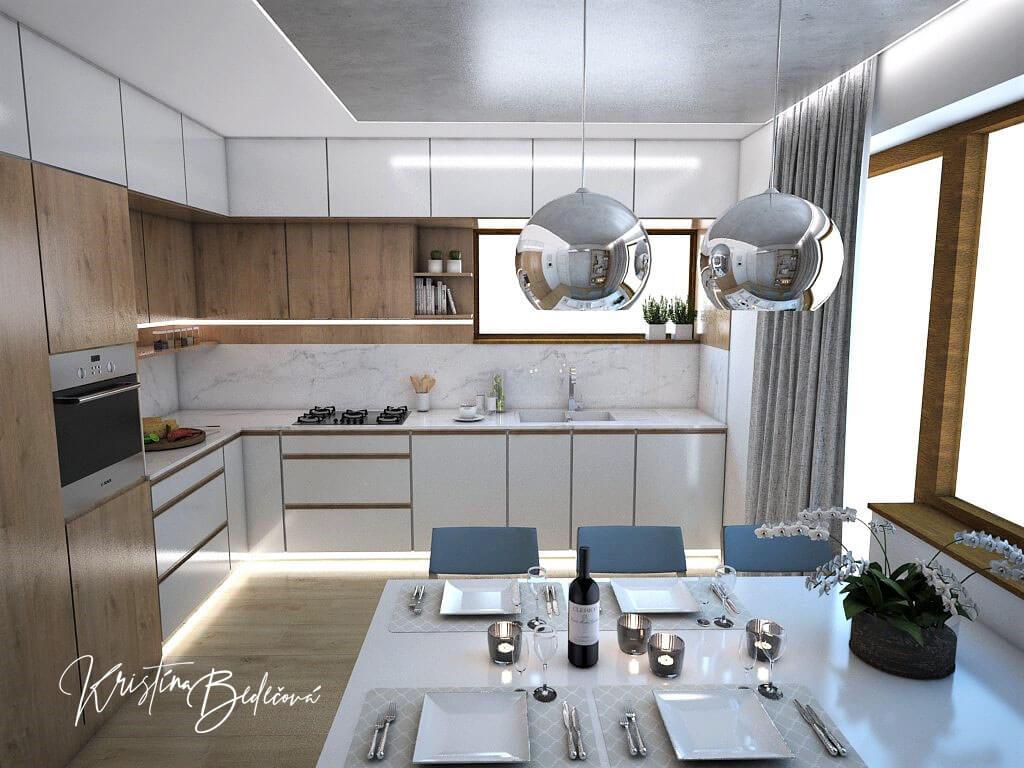 Návrh kuchyne Svet vôní, pohľad na kuchynskú linku