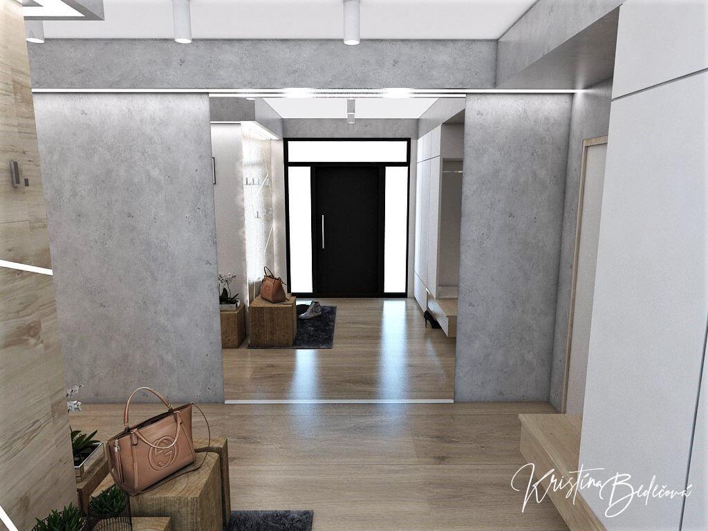 Návrh interiéru vstupnej chodby Vitajte, pohľad na zrkadlo
