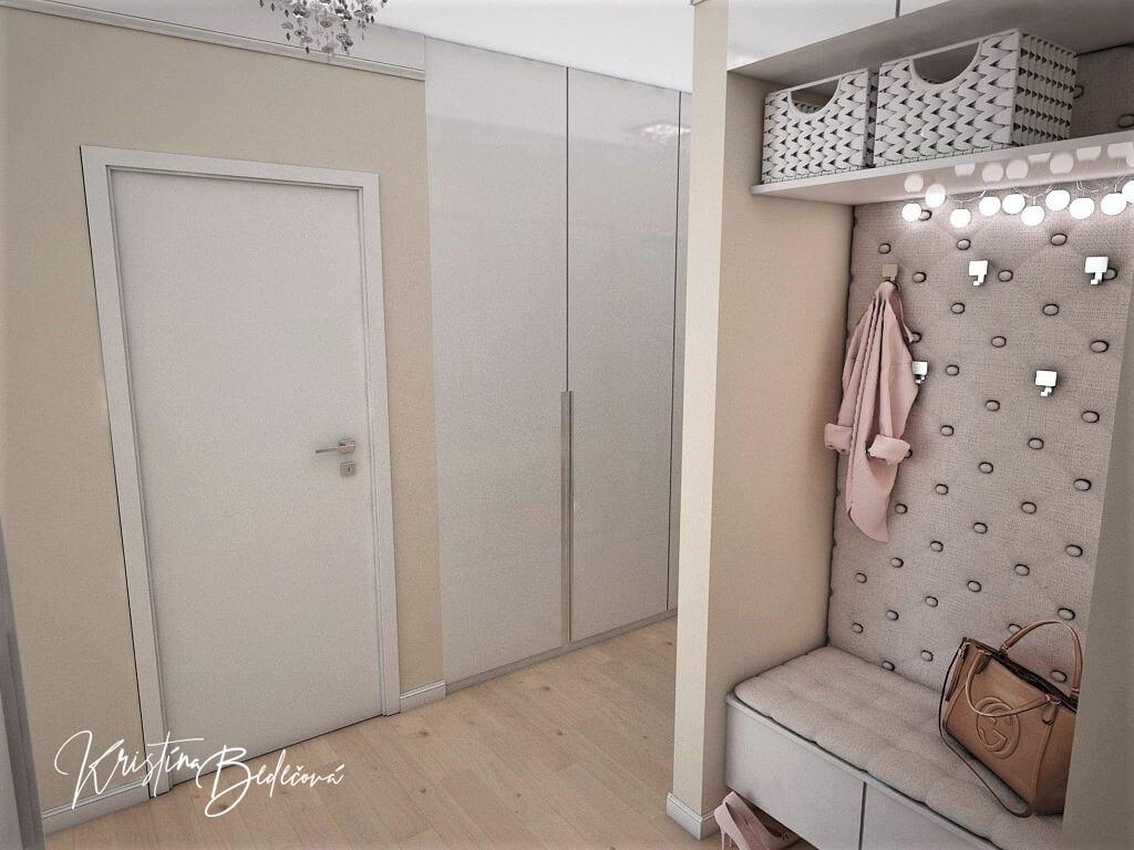 Návrh interiéru bytu Romantika v akcii, pohľad na zrkadlovú stenu