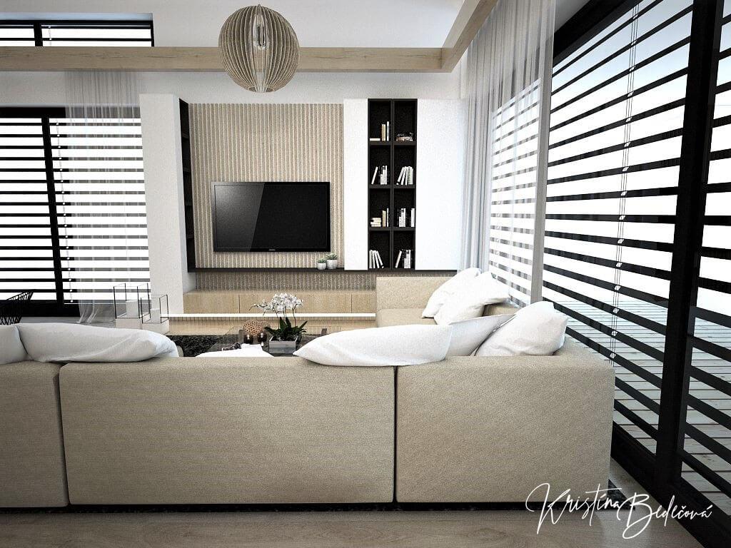 Návrh obývačky s kuchyňou Prírodné prvky v interiéri, pohľad na televízor