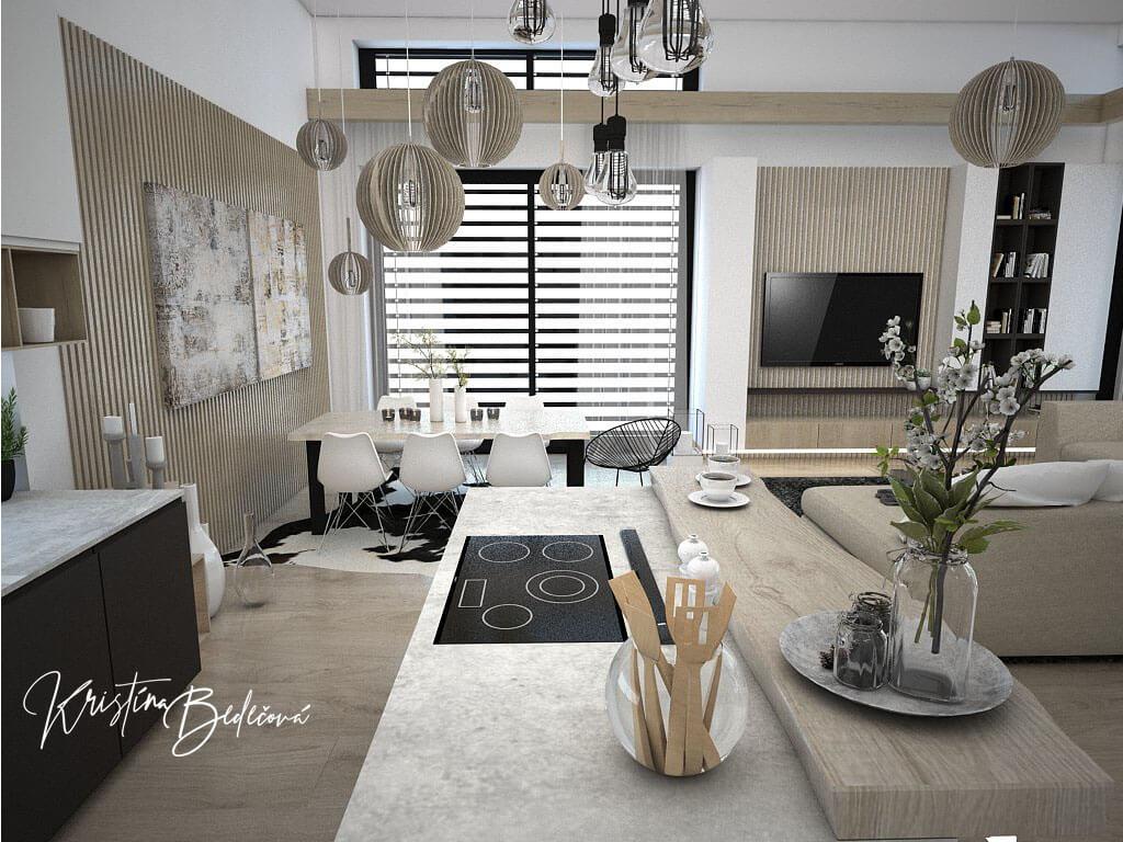 Návrh obývačky s kuchyňou Prírodné prvky v interiéri, pohľad na kuchynský ostrov