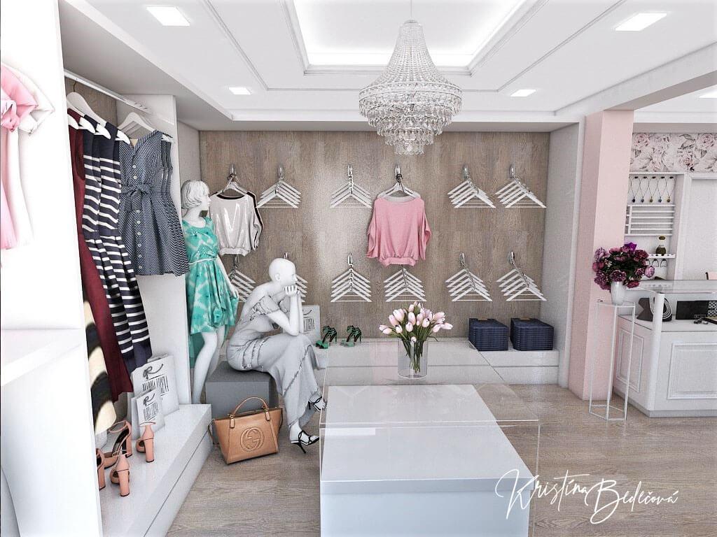 Návrh interiéru butiku, pohľad od vstupu