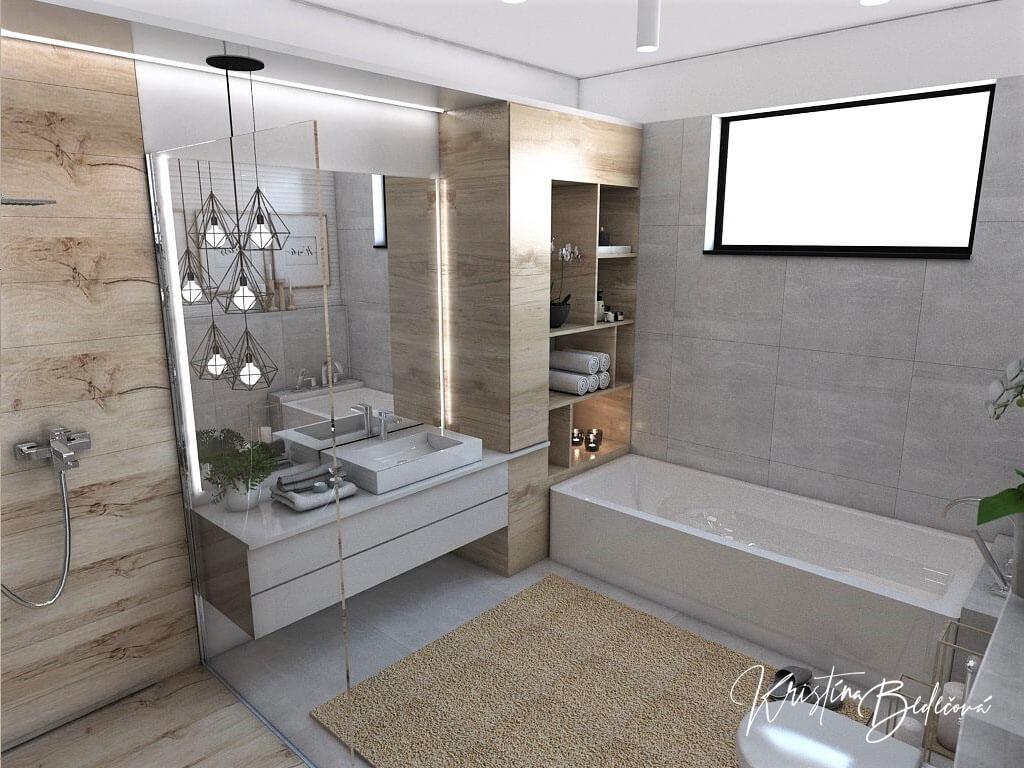 Návrh kúpeľne Rodičovské spa, pohľad na vaňu