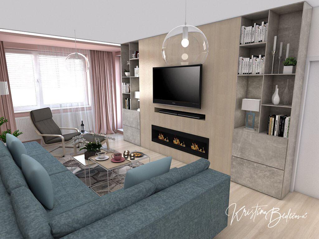 Návrh interiéru obývačky Biokrb v paneláku, pohľad na biokrb