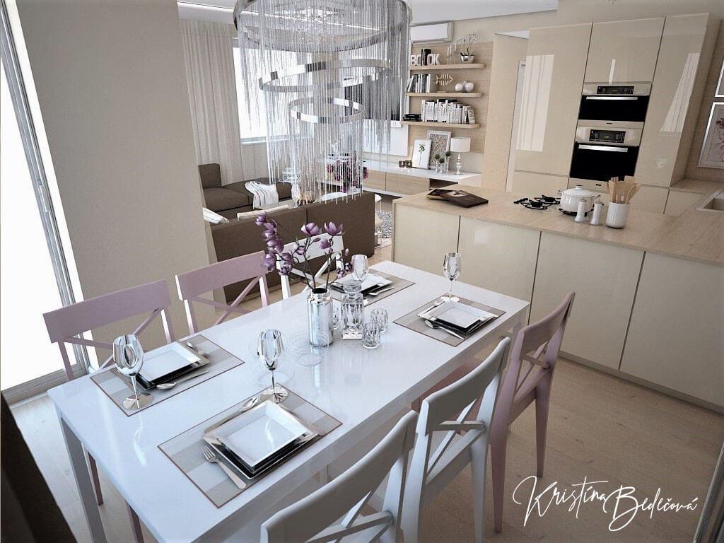 Návrh interiéru bytu Romantika v akcii, ďalší pohľad na jedálenský stôl