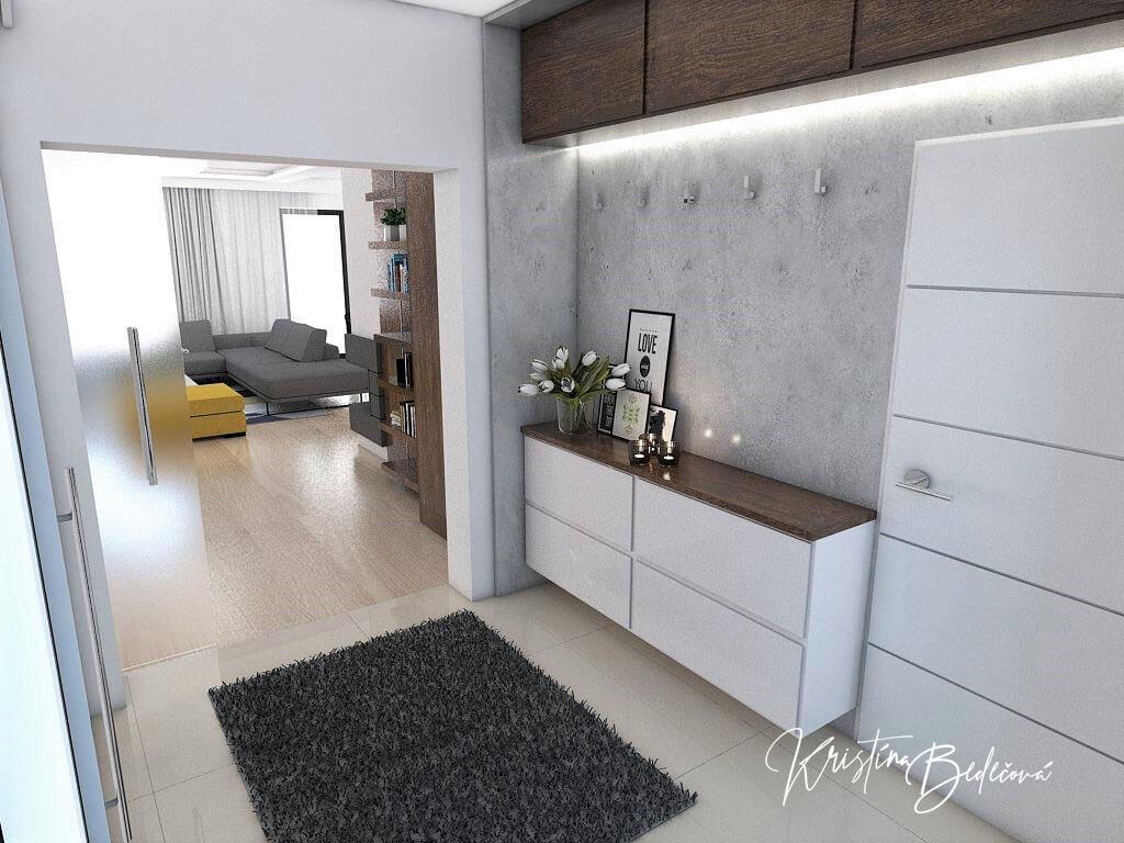 Návrh interiéru vstupnej chodby Elegancia pohľad zo vstupnej chodby do obývačky