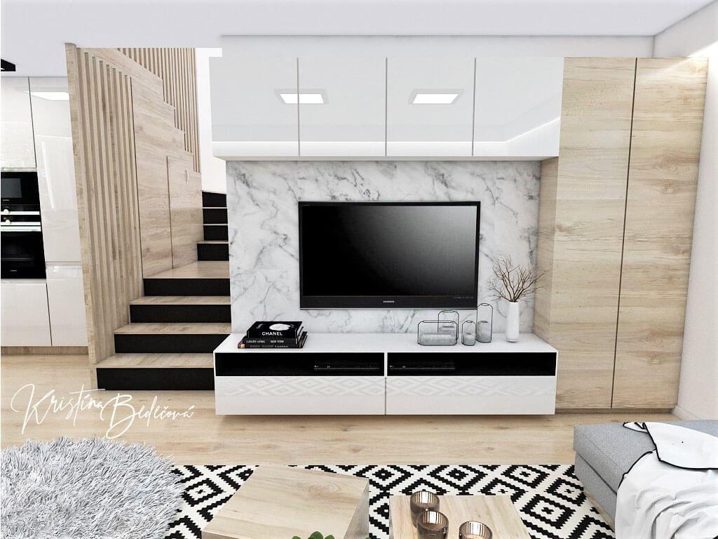 Interiérový návrh kuchyne s obývačkou Po schodoch, pohľad na schodisko a televízor