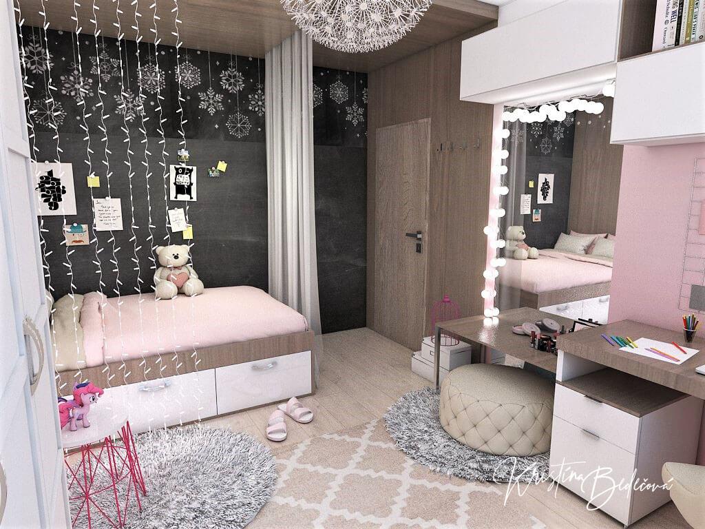 Návrh detskej izby Ombre stenám pristane, pohľad na vstupné dvere