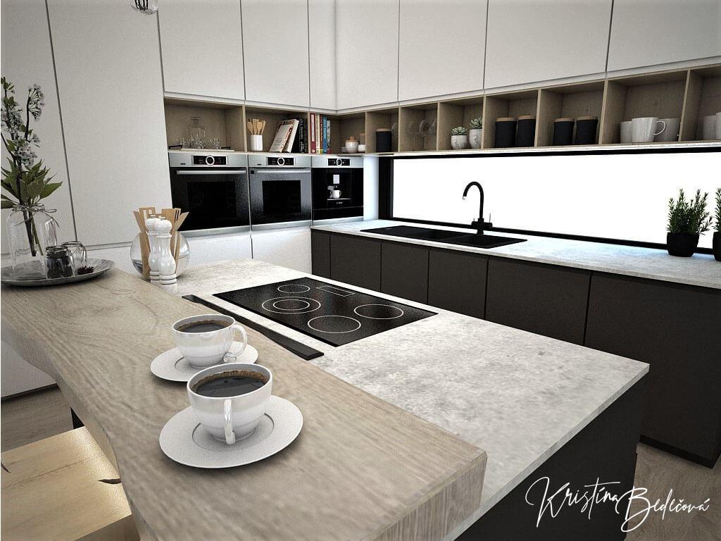Návrh obývačky s kuchyňou Prírodné prvky v interiéri, ďalší pohľad na kuchynskú linku