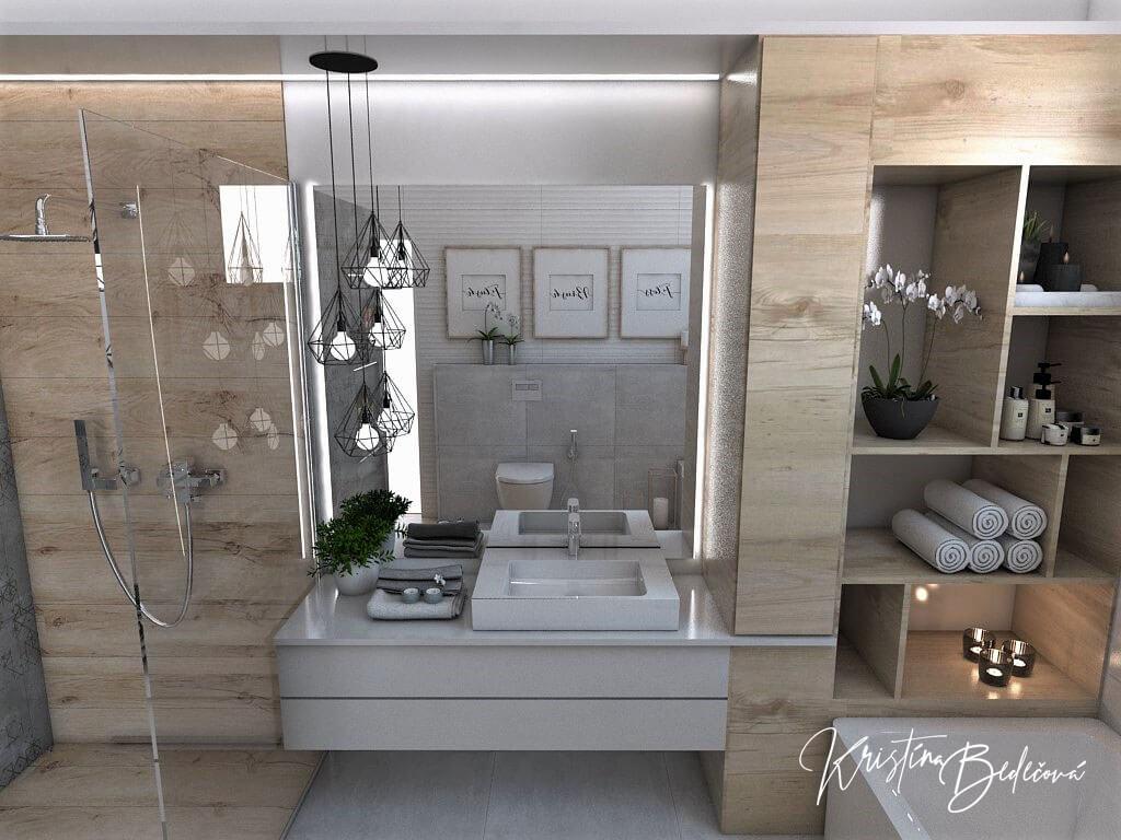 Návrh kúpeľne Rodičovské spa, pohľad na zrkadlo