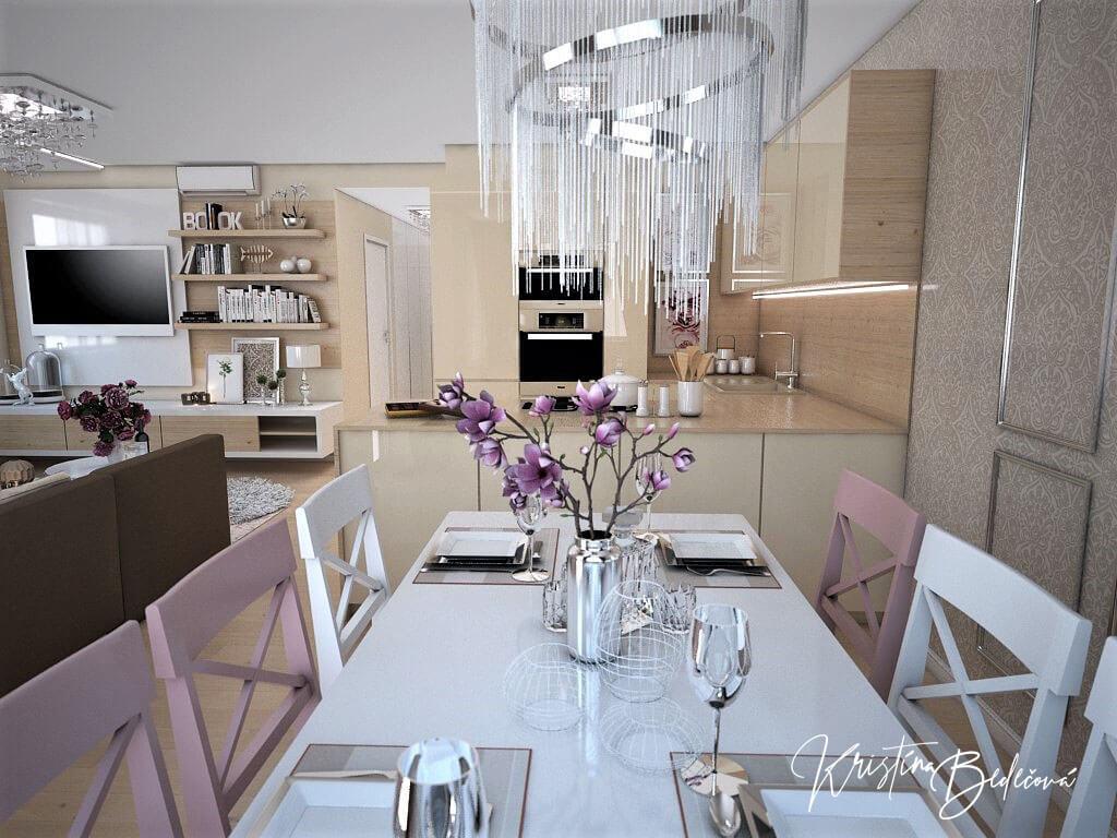 Návrh interiéru bytu Romantika v akcii, pohľad na jedálenský stôl