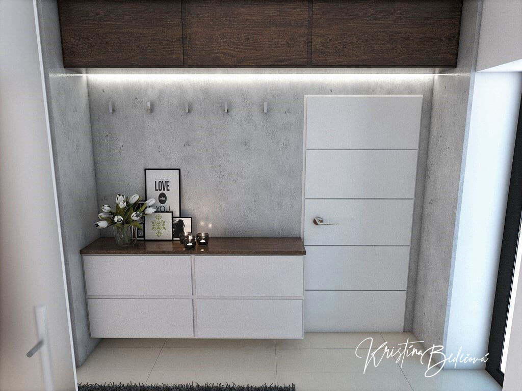 Návrh interiéru vstupnej chodby Elegancia pohľad na vrchné skrinky