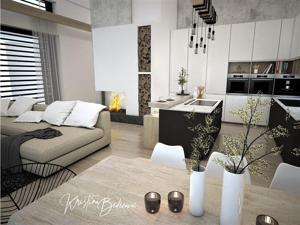 Návrh obývačky s kuchyňou Prírodné prvky v interiéri, pohľad na krb