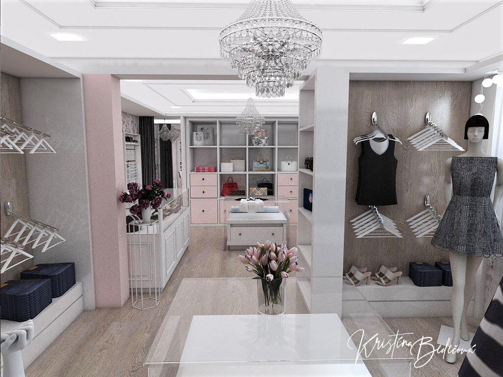 Návrh interiéru butiku, pohľad cez celý butik