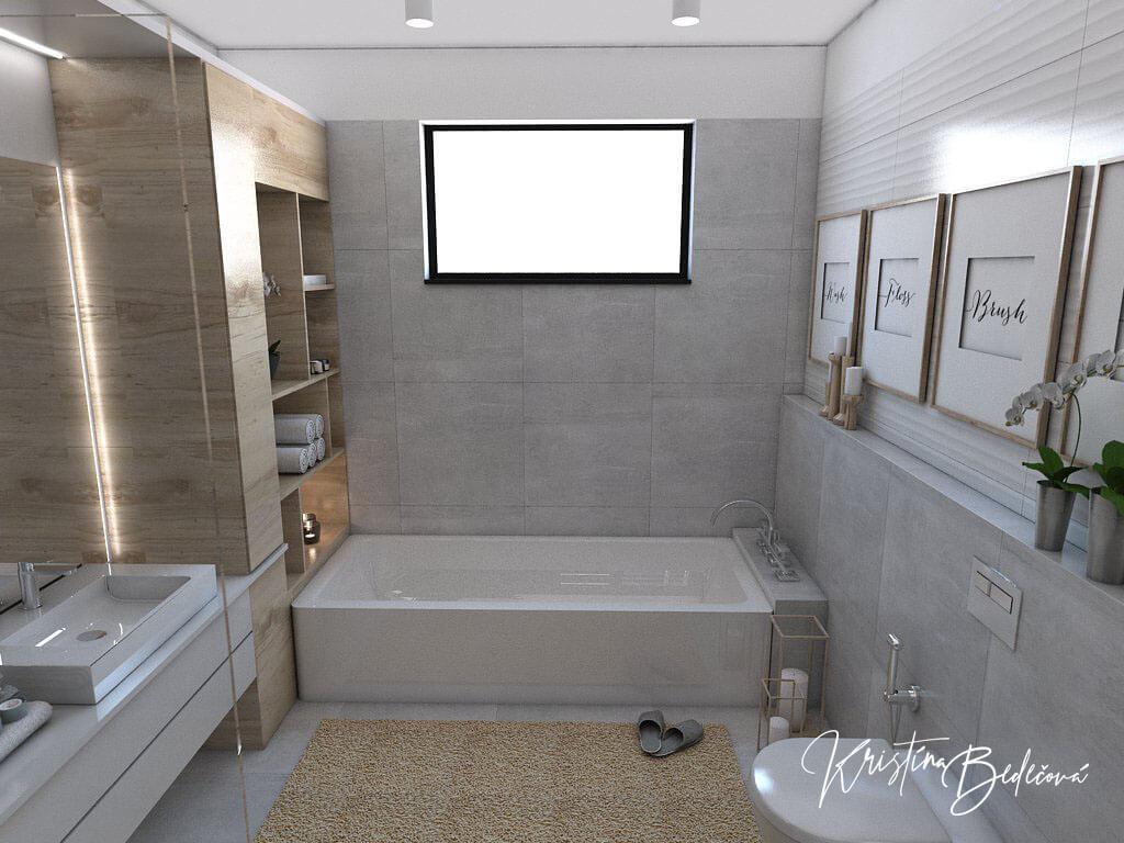 Návrh kúpeľne Rodičovské spa, ďalší pohľad na vaňu