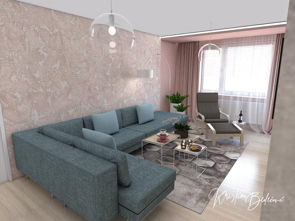 Návrh interiéru obývačky Biokrb v paneláku, pohľad na sedačku