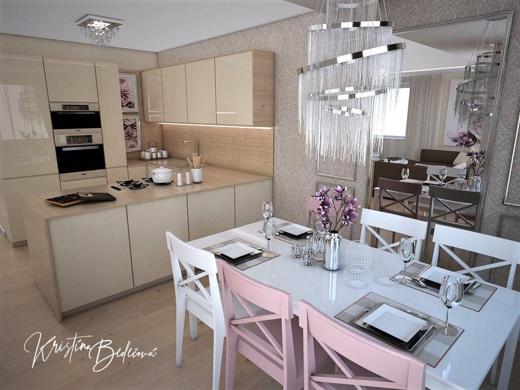 Návrh interiéru bytu Romantika v akcii, pohľad na jedálenský stôl s lustrom