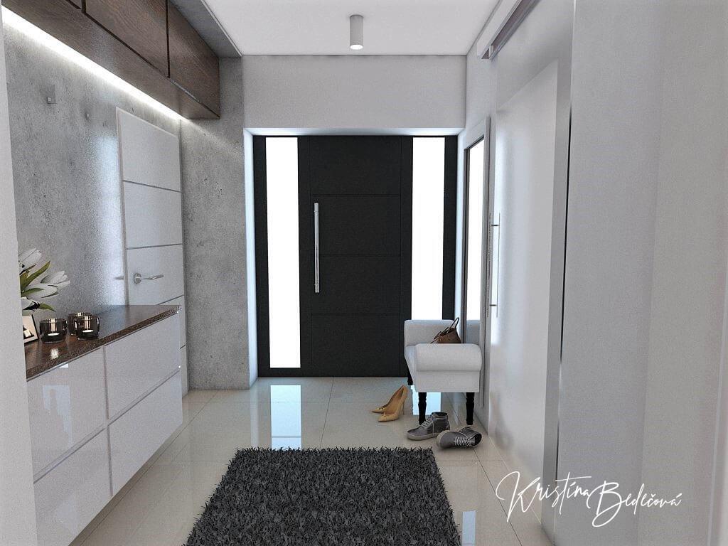 Návrh interiéru vstupnej chodby Elegancia pohľad na vstupné dvere do domu