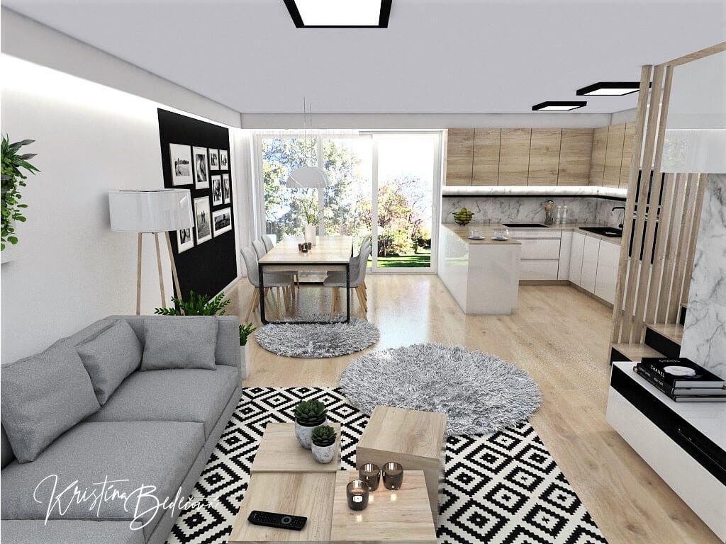 Interiérový návrh kuchyne s obývačkou Po schodoch, pohľad na veľké okno v jedálni