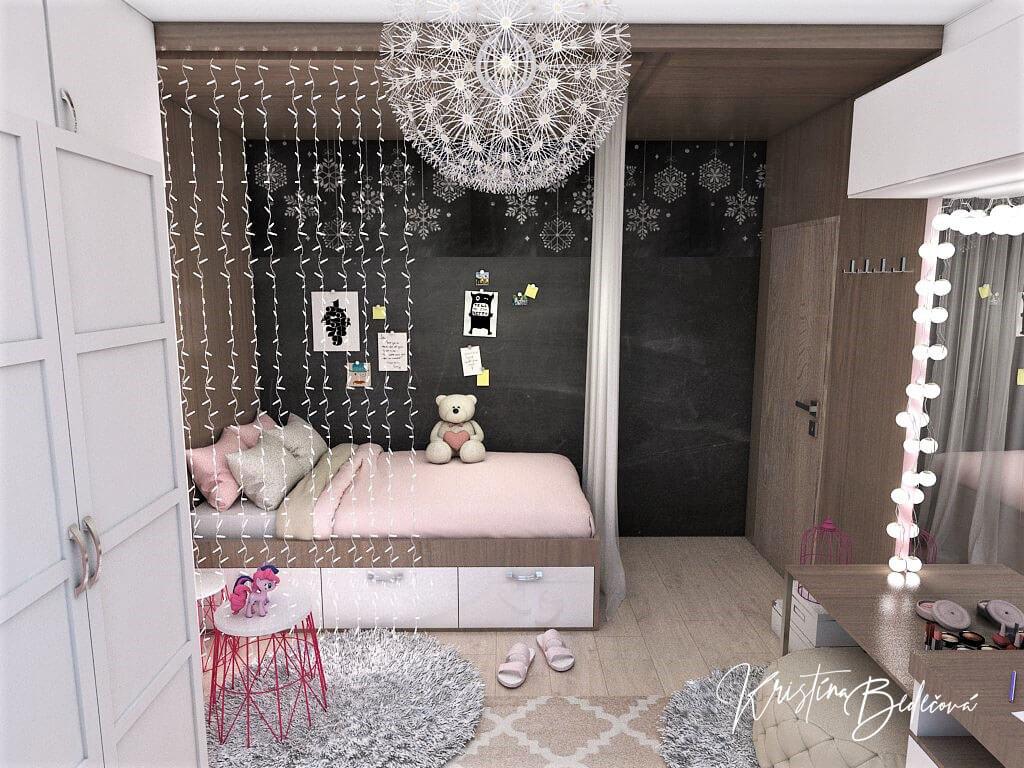 Návrh detskej izby Ombre stenám pristane, pohľad na vstupné dvere s posteľou