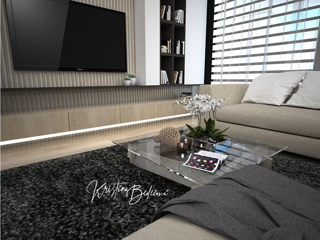 Návrh obývačky s kuchyňou Prírodné prvky v interiéri, pohľad zo sedačky