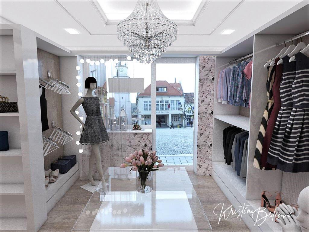 Návrh interiéru butiku, pohľad na vstup