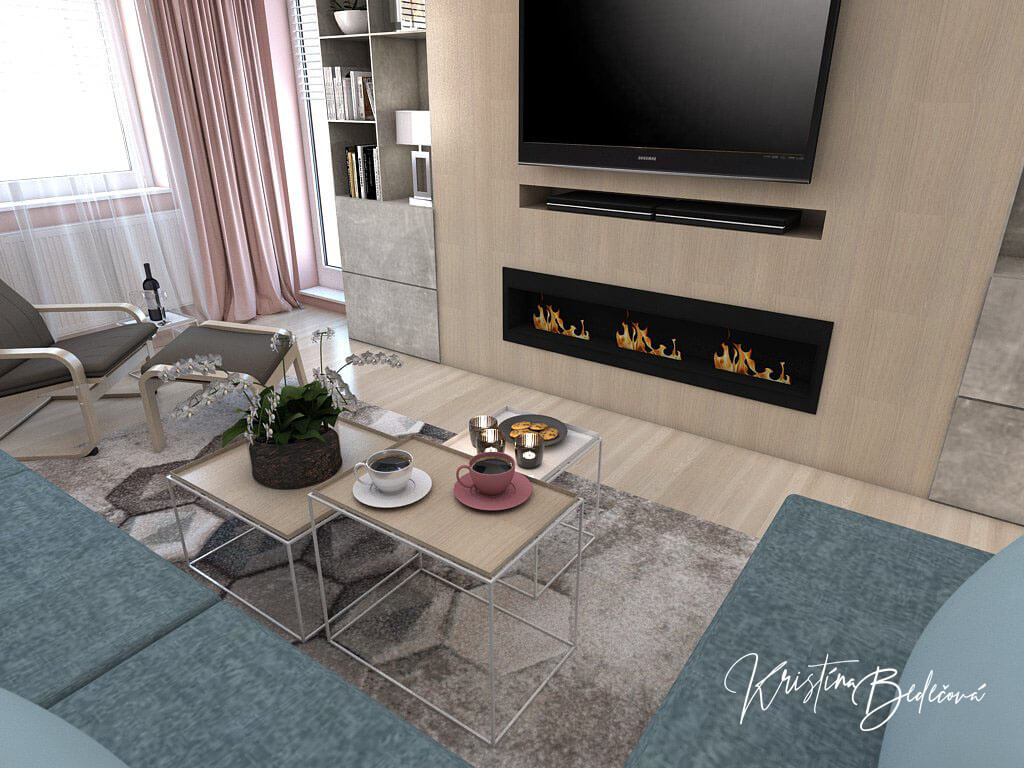 Návrh interiéru obývačky Biokrb v paneláku, pohľad na televízor a biokrb