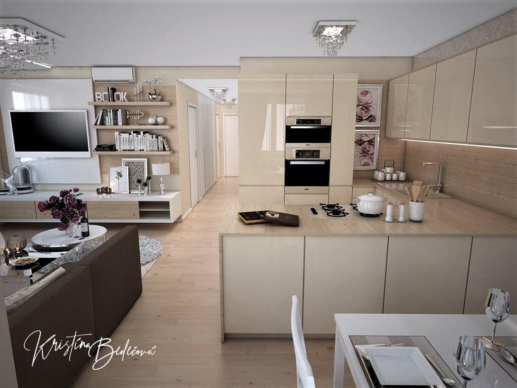 Návrh interiéru bytu Romantika v akcii, pohľad na kuchyňu s chodbou