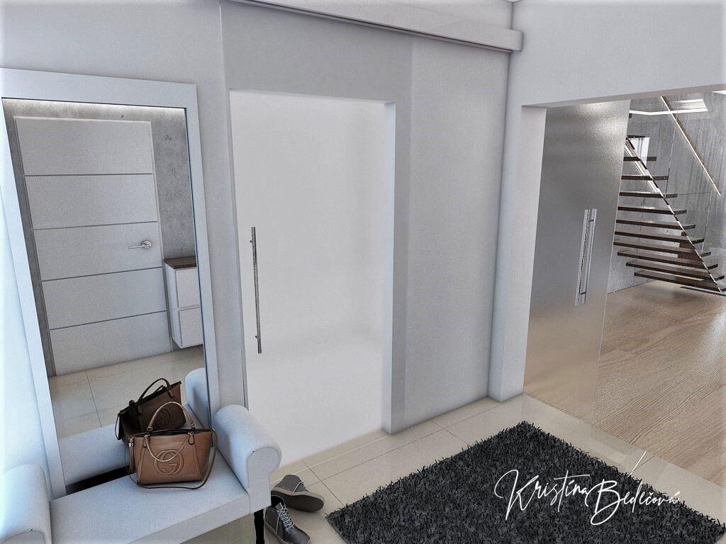 Návrh interiéru vstupnej chodby Elegancia pohľad na dvere