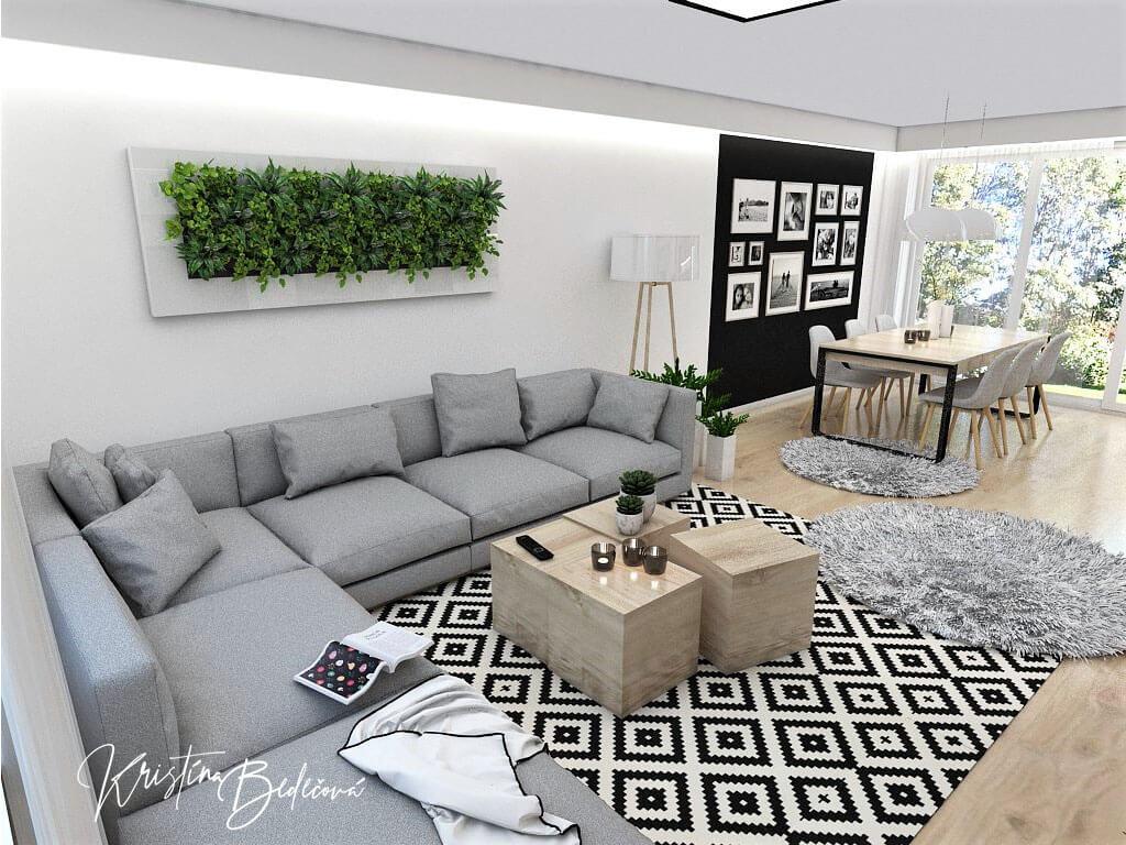 Interiérový návrh kuchyne s obývačkou Po schodoch, pohľad na živý obraz