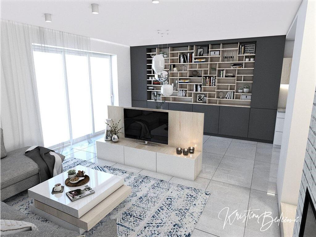 návrh obývačky s kuchyňou Knižnica ako ozdoba, pohľad na knižnicu