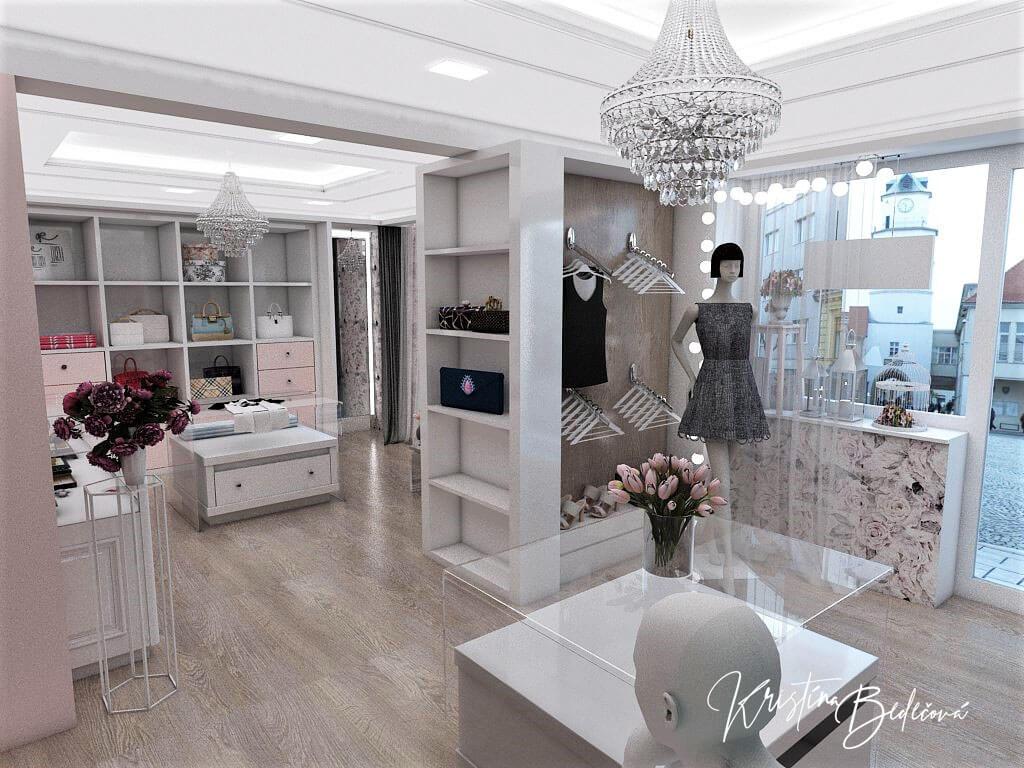 Návrh interiéru butiku, pohľad na výklad butiku