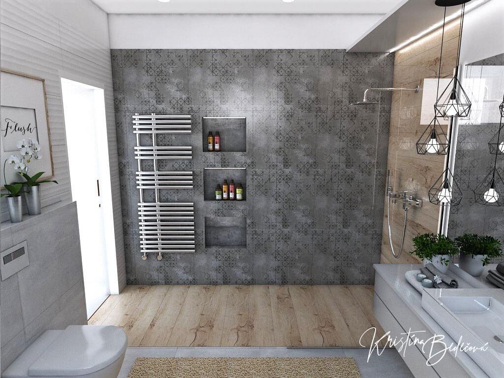 Návrh kúpeľne Rodičovské spa, pohľad na celý sprchový kút