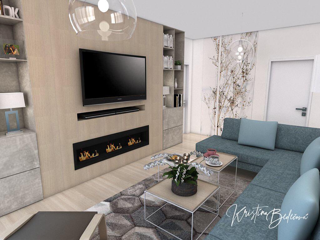 Návrh interiéru obývačky Biokrb v paneláku, pohľad na televízor
