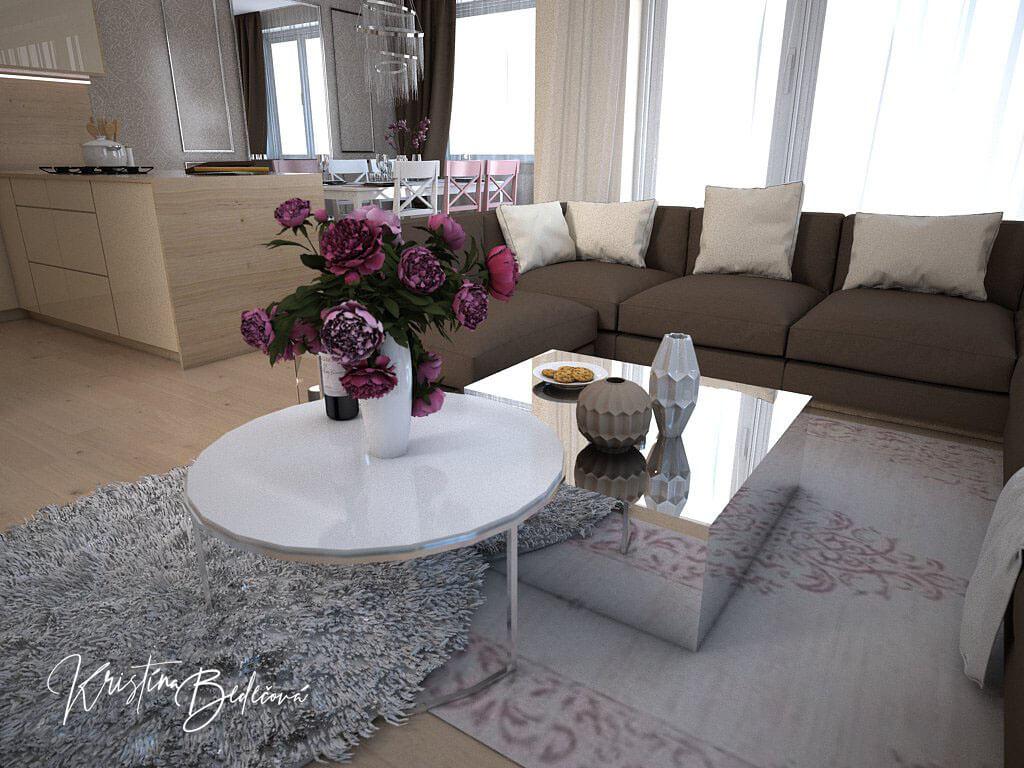 Návrh interiéru bytu Romantika v akcii, pohľad na stolík v obývačke
