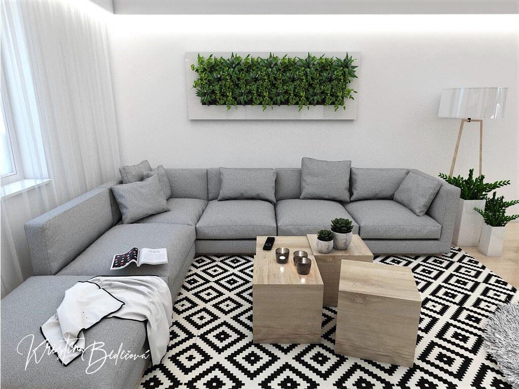 Interiérový návrh kuchyne s obývačkou Po schodoch, ďalší pohľad na živý obraz