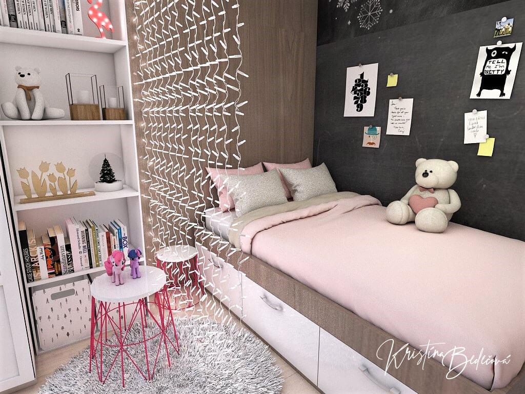 Návrh detskej izby Ombre stenám pristane, pohľad na postel