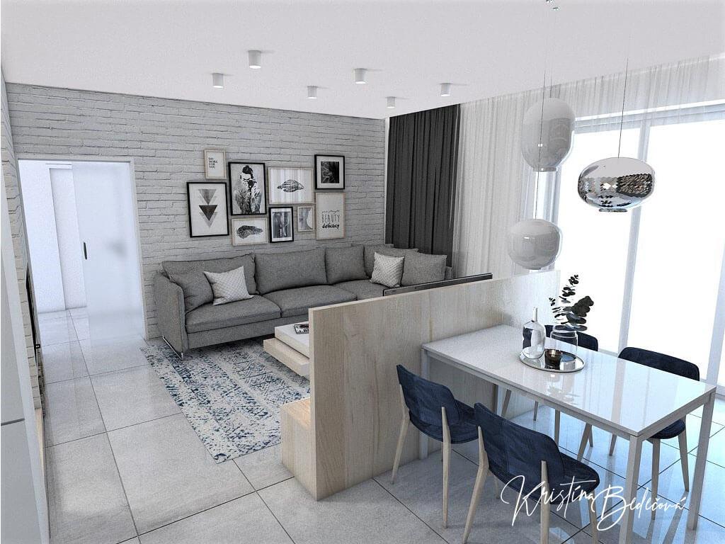 Návrh obývačky s kuchyňou Knižnica ako ozdoba, pohľad na sedačku