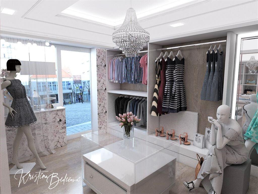 Návrh interiéru butiku, pohľad na vstupné dvere