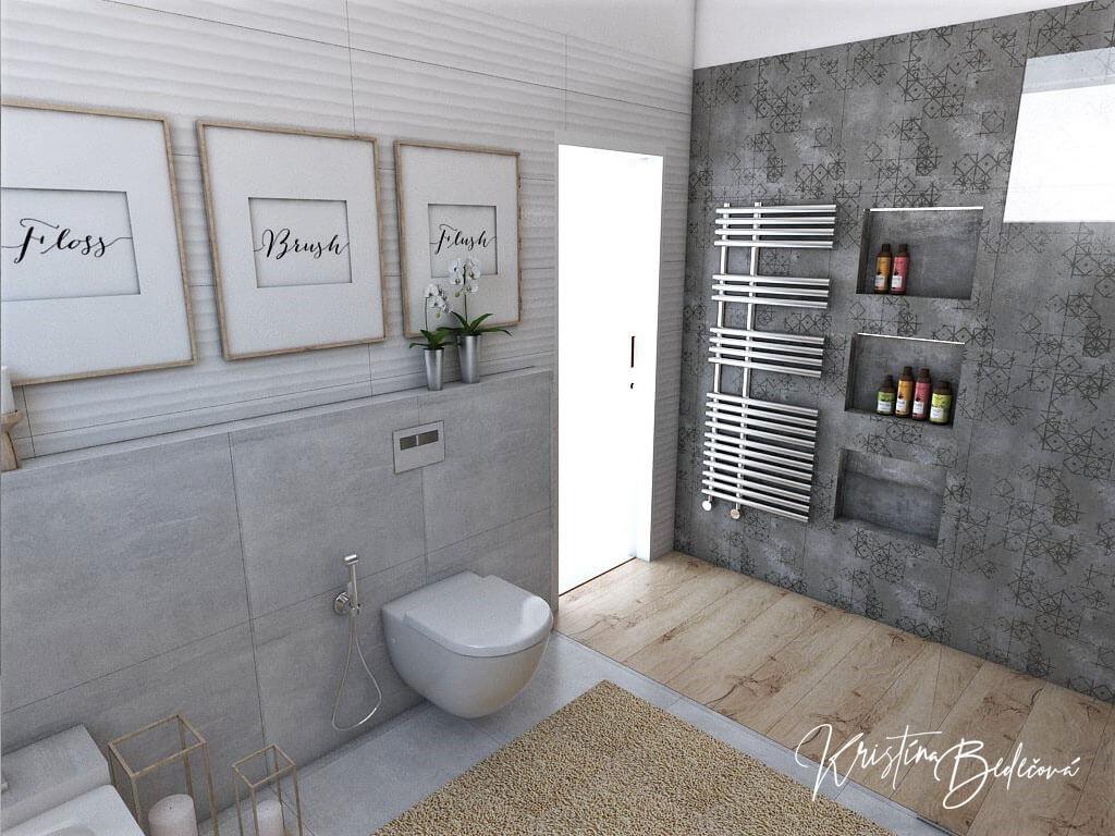 Návrh kúpeľne Rodičovské spa, pohľad na vstup do kúpeľne