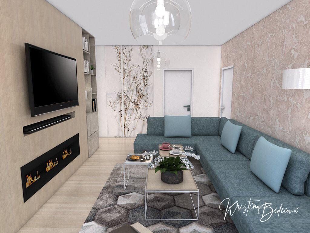 Návrh interiéru obývačky Biokrb v paneláku, ďalší pohľad na sedačku