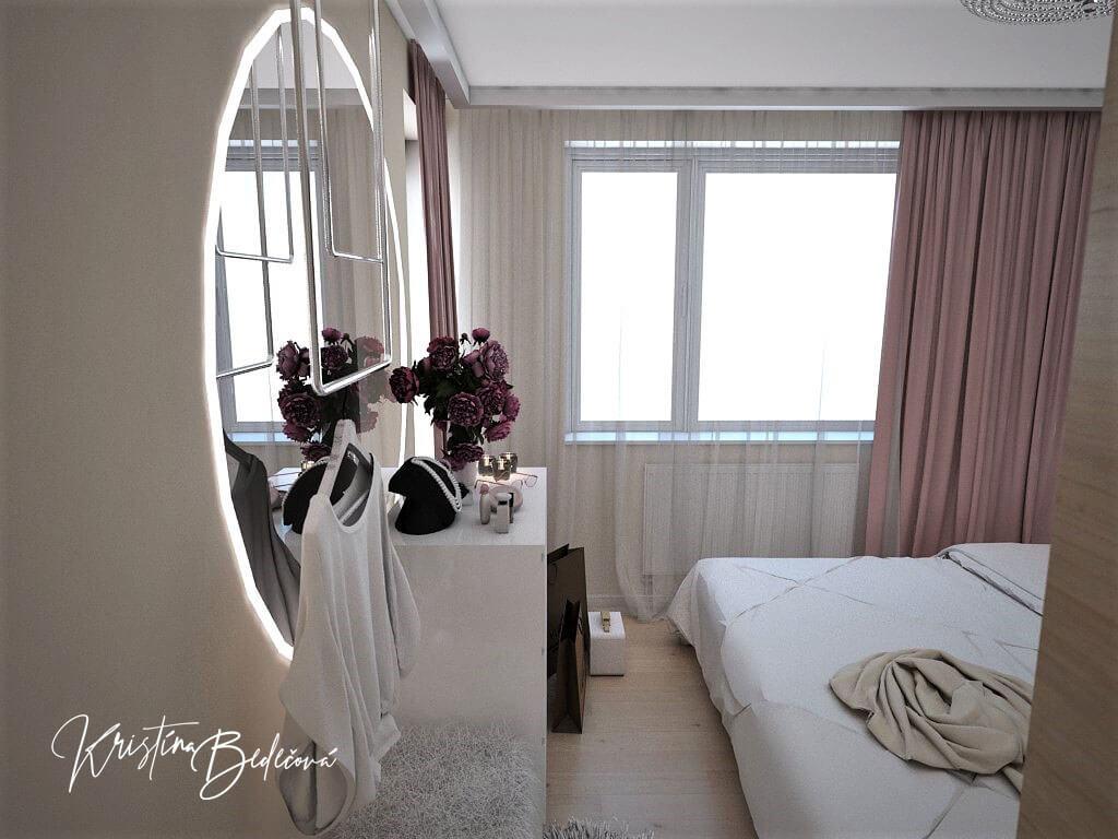 Návrh interiéru bytu Romantika v akcii, pohľad na zrkadlo v spálni