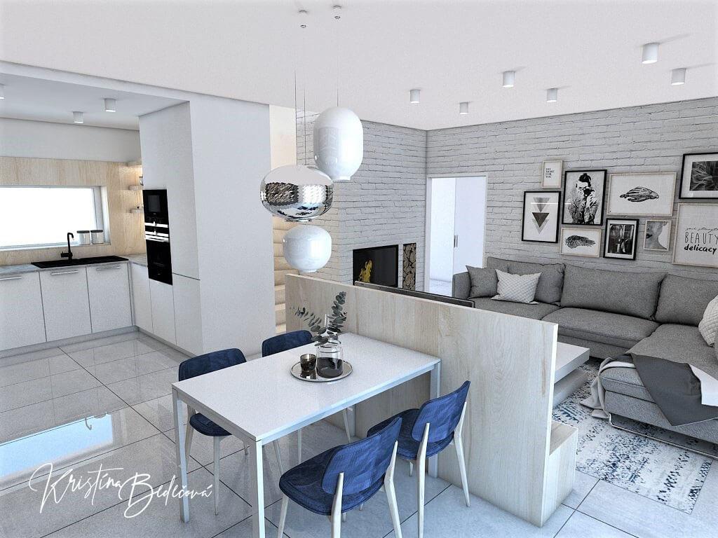 Návrh obývačky s kuchyňou Knižnica ako ozdoba, pohľad na jedálenský stôl