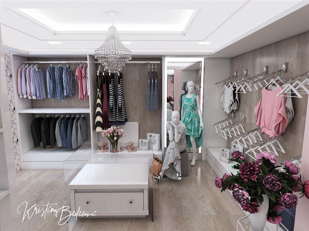 Návrh interiéru butiku, pohľad zo zadnej časti butiku
