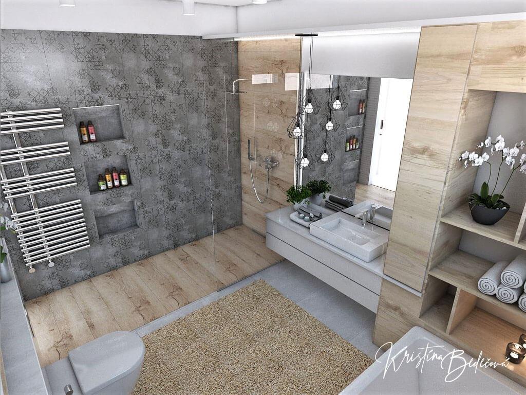 Návrh kúpeľne Rodičovské spa, pohľad na kúpeľnu zvrchu
