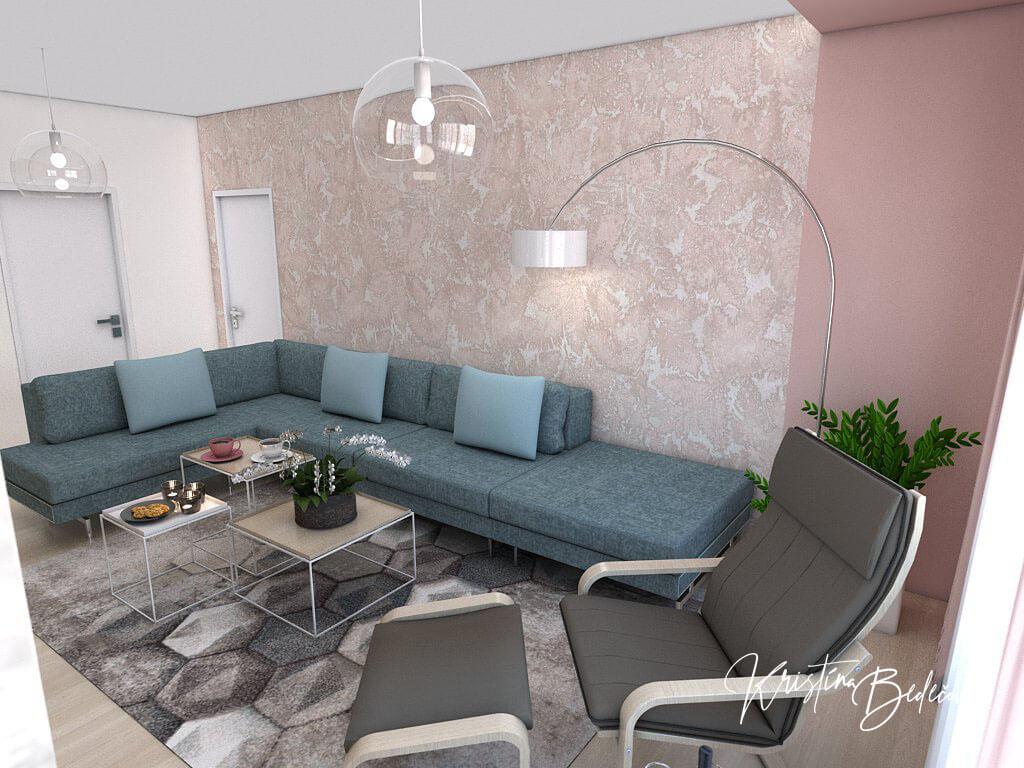 Návrh interiéru obývačky Biokrb v paneláku, pohľad na oddychové kreslo